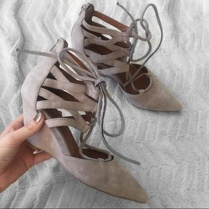 Jeffrey Campbell Sombra Taupe Suede Lace Up Wedges